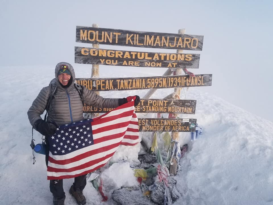 at peak of Mt. kilimanjaro